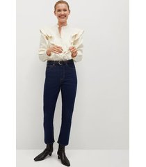 high-waist straight-fit jeans