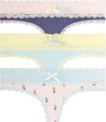 women's honeydew intimates ahna 3-pack lace thong, size x-large - blue