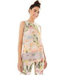 camiseta regata farm rio tela borbopétalas - feminina - amarelo cla/rosa cla