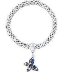bracciale farfalla in metallo rodiato e cristalli per donna