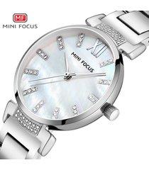 mini focus / 0227l moda diamante nácar correa de acero reloj-blanco