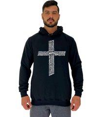 blusa moletom masculino alto conceito crucifixo motivacional preto