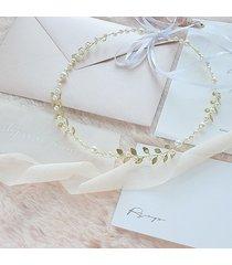 opaska ślubna boho z listkami i perłami