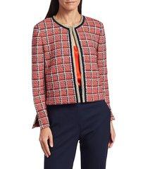 st. john women's metallic plaid knit cropped jacket - red multi - size l