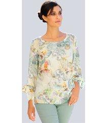 blouse alba moda crème::lindegroen::grijs