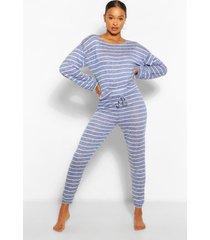 gestreepte gebreide & loungeset met legging bovenop, marineblauw