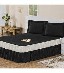 colcha / cobre leito agatha com porta travesseiros solteiro casa dona preto - incolor - dafiti