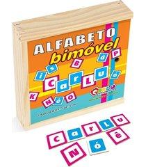alfabeto bi móvel em mdf 128 peças madeira - carlu