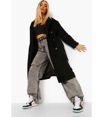 geborstelde nepwollen jas met dubbele knopen en ceintuur, black