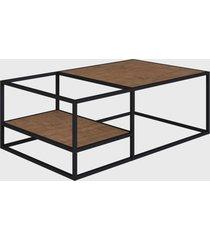 mesa de centro vermont/est. preta industrial artesano - bege - dafiti