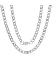 """steeltime men's stainless steel accented 6mm cuban chain 24"""" necklaces"""