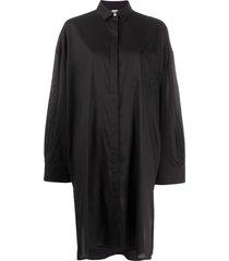 totême long-sleeve pocket shirt dress - black