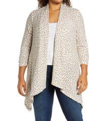 plus size women's bobeau cozy drape front cardigan, size 1x - brown