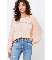 loft embroidered popover blouse