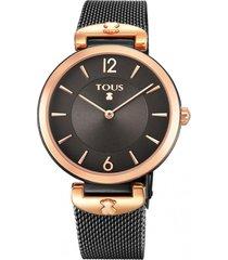 reloj s-mesh bicolor acero ip  negro rosa tous