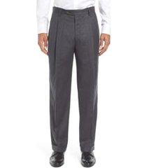 men's berle lightweight flannel pleated classic fit dress trousers, size 33 x unhemmed - grey