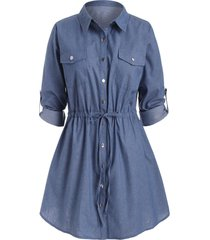 plus size roll sleeve chambray snap button shirt dress
