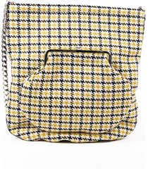 victoria beckham round wallet shopper black yellow houndstooth crossbody bag black/yellow sz: m