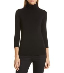 women's l'agence aja jersey turtleneck top, size x-large - black
