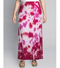 lane bryant women's tie-dye pull-on midi skirt 26/28 pink tie dye