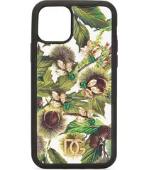 dolce & gabbana chestnut print crystal-embellished iphone 11 pro case