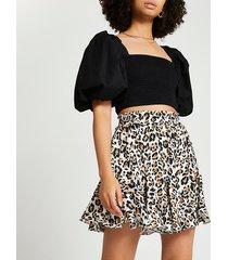 river island womens cream leopard mini flounce skirt