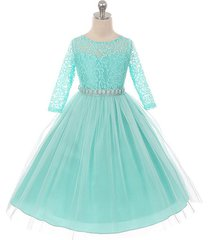 tiffany blue long sleeve stretchy lace bodice tulle skirt with belt girl dress