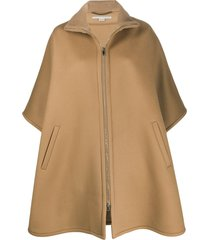 stella mccartney oversized zip-front cape - neutrals