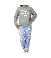 pijama de moletom feminino conjunto blusa manga longa e calça