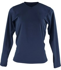blusa térmica fiero segunda pele inverno gola v azul