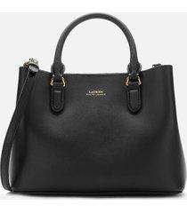 lauren ralph lauren women's marcy mini ii satchel - black/crimson