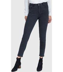 jeans ash  tiro medio skinny negro - calce ajustado