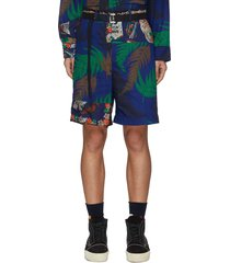 belted archive print patchwork shorts