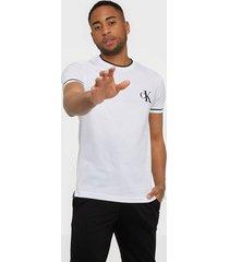 calvin klein jeans tipping ck essential tee t-shirts & linnen white