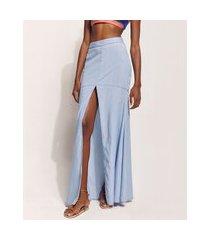 saia jeans feminina hype beachwear longa com recorte e fenda azul claro