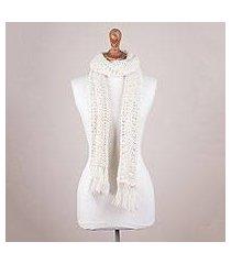 100% alpaca scarf, 'ivory sands' (peru)