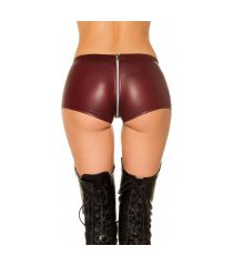 sexy gogo lederlook shorts bordeaux