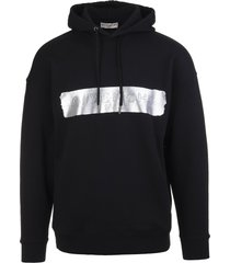 man black hoodie with givenchy stripe in silver latex