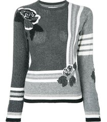 thom browne rose instarsia cashmere pullover - grey
