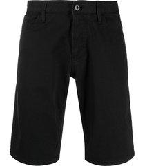 emporio armani denim straight fit shorts - black