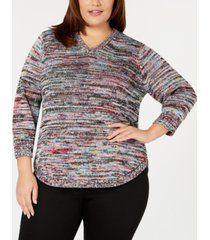ny collection plus size marled v-neck sweater