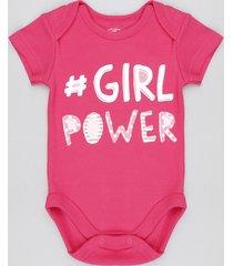 "body infantil ""girl power"" manga curta decote redondo rosa escuro"