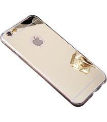 stylish shock defense hd reflective mirror case apple iphone 7 (gold)