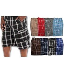 shaka plaid cargo shorts for men 60% cotton 40% poly eastic with string woven