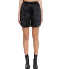 acne studios ren fluid satin shorts in black synthetic fibers