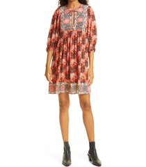 ba & sh gaia floral mix print babydoll dress, size x-small in orange at nordstrom
