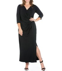 women's plus size side slit maxi dress