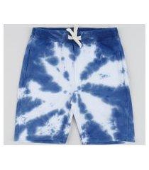 bermuda de moletom juvenil estampada tie dye com bolsos azul