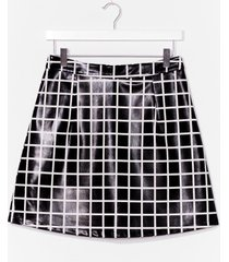 womens moment of houndstooth high-waisted mini skirt - black