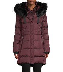 stefani faux fur-trim down puffer jacket
